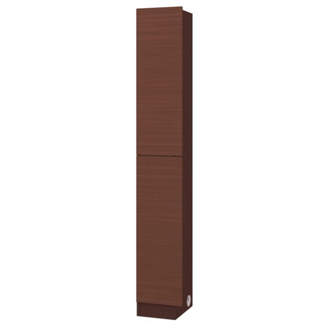 テレビ台の高さが選べて配線も隠せる壁面収納 奥行34cmタイプ コード対応扉タイプ 幅29cm右壁用 (ウ)ダークブラウン