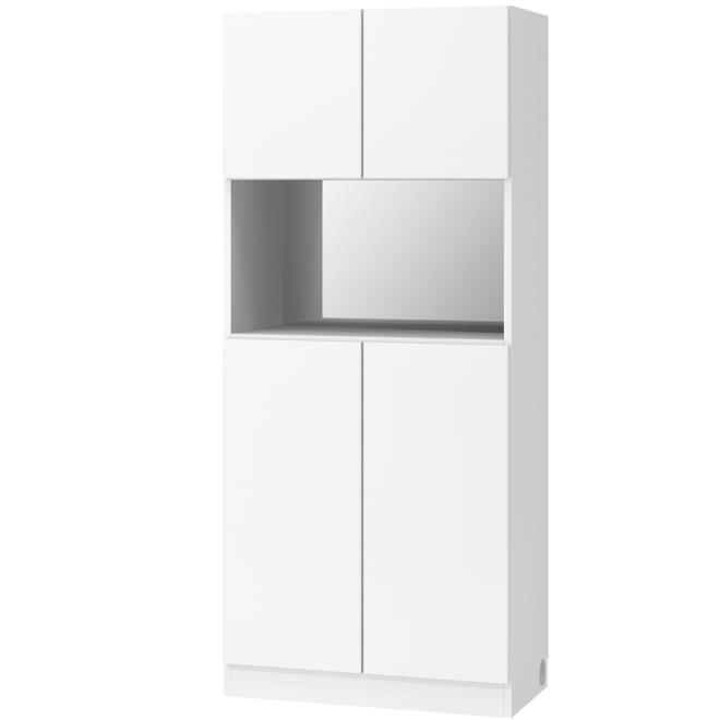 テレビ台の高さが選べて配線も隠せる壁面収納 奥行44cmタイプ 飾り棚 幅78高さ180cm (ア)ホワイト