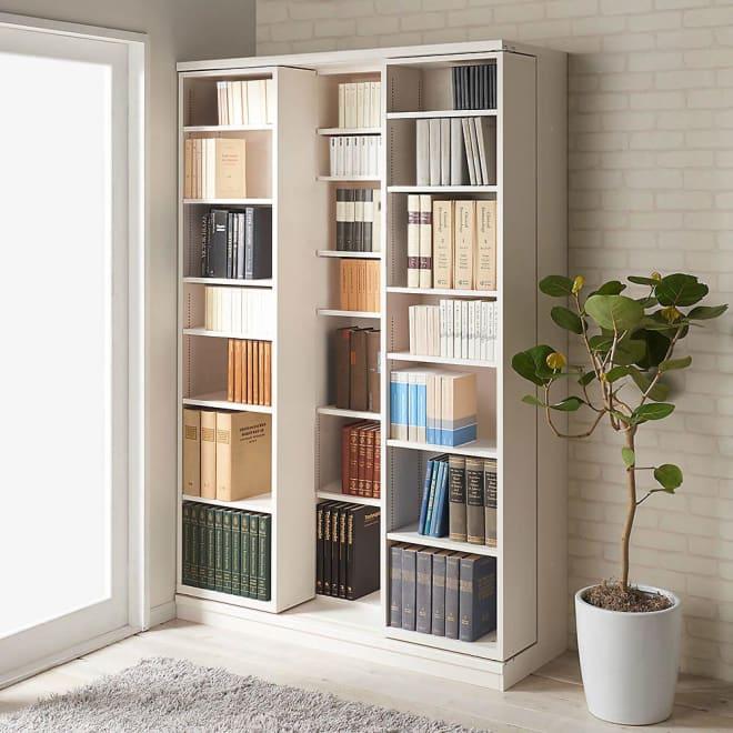 本格仕様 快適スライド書棚 オープン 3列 使用イメージ(ウ)ホワイト(木目)