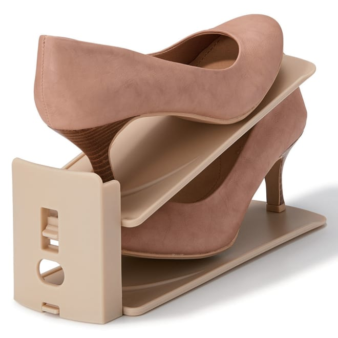 高さ調整可能 靴収納ホルダー12個組 ずれ落ちを防ぐストッパー機能付き。 (ア)ベージュ