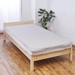 発熱するコットン「デオモイス」寝具シリーズ フランネルニットの敷きパッド (ア)グレージュ