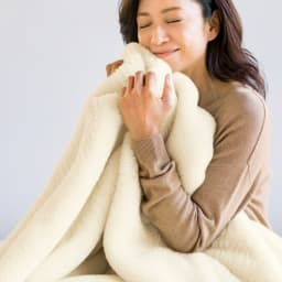ムートンと錯覚するほどなめらか肌ざわり ジロンウール ニューマイヤー毛布 (ア)ホワイト