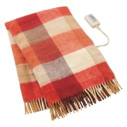 洗えるカラフルチェック電気ブランケット(電気毛布) 82×140cm (ア)オレンジチェック