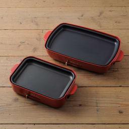 BRUNO/ブルーノ ホットプレート グランデサイズ 左がコンパクトサイズで右側がグランデサイズ。平面プレートはコンパクトサイズの約1.5倍。