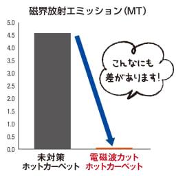 電磁波カットホットカーペット(本体のみ) 電磁波を抑える効果は一目瞭然! ホットカーペット上9か所での測定値の平均値比較 ※自然に存在する数値(暗ノイズ)を除いた数値を使用。 ※(財)日本品質保証機構安全電磁センター調べ