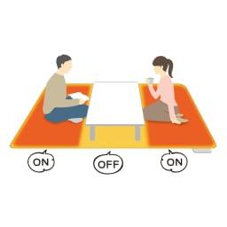 電磁波カットホットカーペット(本体のみ) 3面切替機能で省エネ仕様に改良! 2畳・3畳タイプは3面切替機能で7パターンの組み合わせ設定が可能。テーブルを置いた真ん中だけをオフにするなど、省エネ・節電にも◎。