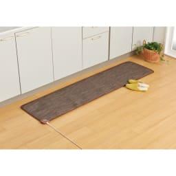 ホットキッチンマット 幅45cm カーペット柄 (イ)ブラウン