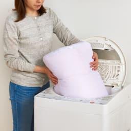 エアーフレイク(R)掛け布団 クイーン ご家庭の洗濯機で丸洗いOK。羽毛のニオイや衛生面が気になる方にも安心してお使いいただけます。