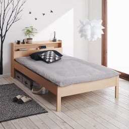 角あたりのない細すのこベッド 棚付き (国産ポケットコイルマットレス付き) 布団使用イメージ