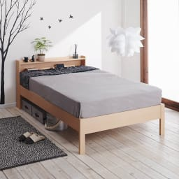 角あたりのない細すのこベッド 棚付き (国産ポケットコイルマットレス付き) マットレス使用イメージ