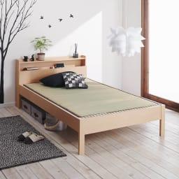 角あたりのない細すのこベッド 棚付き (国産ポケットコイルマットレス付き) ゴザ使用イメージ