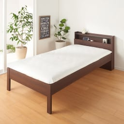 角あたりのない細すのこベッド 棚付き (国産ポケットコイルマットレス付き) (イ)ダークブラウン ※写真はセミダブルサイズです。お届けはフレームのみとなります。