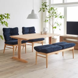 包まれる座り心地のリビングダイニング テーブル コーディネート例 まるで北欧のインテリアのような柔らかで心地よい空間を演出します。 ※お届けはダイニングテーブルとなります。