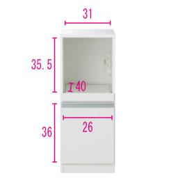 組立不要 幅と高さが選べる家電収納庫  ロータイプ 幅35cm・奥行45cm ※内寸図