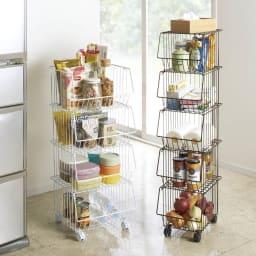 頑丈スタッキングバスケット ワイド3段 食品ストックやキッチン雑貨の収納に。 ※写真は左からワイド4段タイプ、スリム5段タイプです。