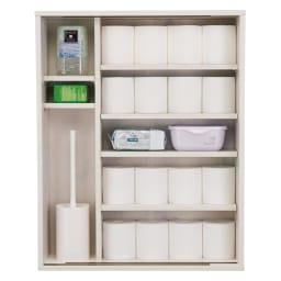 ルーバー扉トイレ収納庫 高さ75cm すべての棚板が約1.5cm間隔で高さ調節できます。最大20ロール ※扉を外した状態