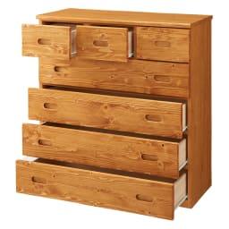 レール付き パイン天然木チェスト 5段 幅89.5高さ96.5cm ※引き出し開けイメージ