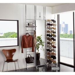 天井突っ張り式 玄関壁面ブティックミラー 幅40cm シリーズ商品とのコーディネート例