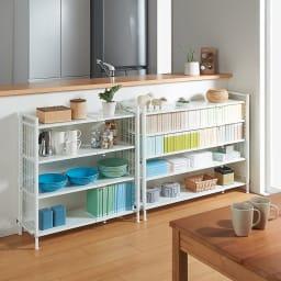 幅・高さ伸縮!スチールローラック(棚4枚・幅伸縮61~89cm) 使用イメージ:キッチンの幅に合わせてカウンター下収納として ※お届けの商品は左側の幅伸縮61~89cmタイプです。