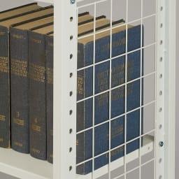 幅・高さ伸縮!スチールローラック(棚4枚・幅伸縮61~89cm) 本を立てても倒れないサイドネット付き。