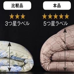 日本ハンガリー国交150周年記念 ノーブルダウン羽毛布団 3つ星ラベルに比べて本品はふっくらと厚みがあってボリューム感もたっぷり。