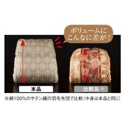 日本ハンガリー国交150周年記念 ノーブルダウン羽毛布団 軽量生地により、中身の羽毛がここまでふっくら!
