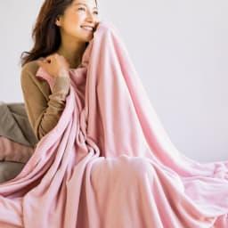 発熱するコットン「デオモイス」寝具シリーズ フランネルニットの2枚合わせ毛布 (イ)オールドローズ くすみピンクの落ち着いた印象。大人のかわいらしさのあるカラー。