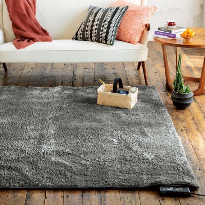 やわらかマイクロファイバーの多色シャギーラグ〈ラルジュ〉 洗えるタイプ (ア)グレー ※写真は約185×185cmサイズです。