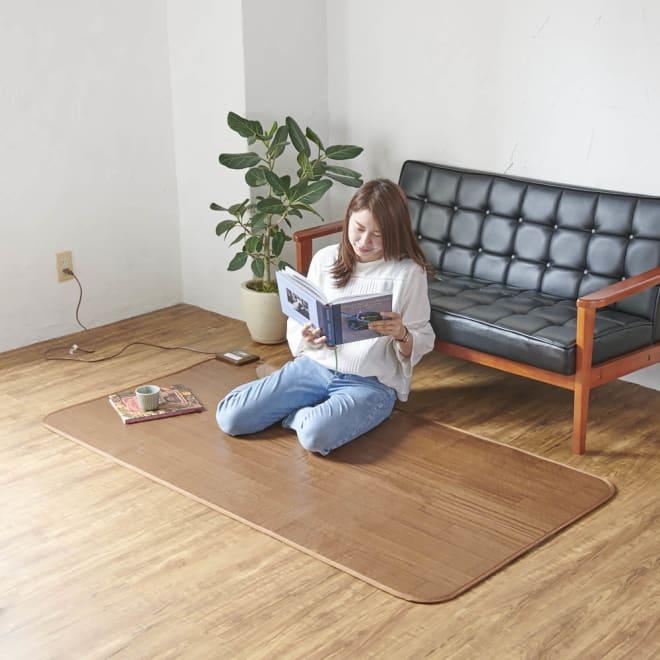 フローリング調プリント防水ホットカーペット(1畳/1.5畳) 冷えやすいソファ前の足元にも。