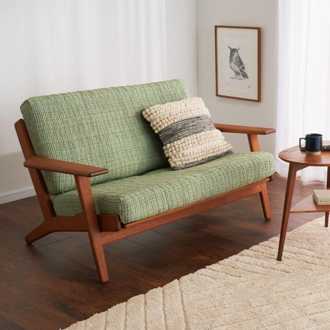 スペイン製ソファカバー〈ルガーノ〉座面・背もたれ兼用カバー (ウ)グリーン ※写真は2人掛用を2枚使用しています。