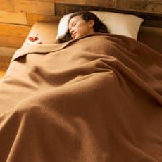 洗える100%ナチュラルキャメル お得な掛け毛布+敷き毛布セット