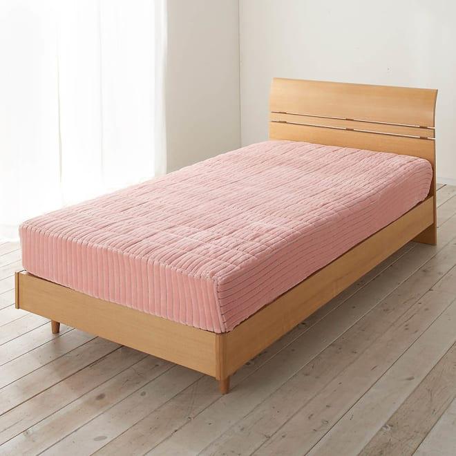 暖かさと肌へのやさしさを考えたFUWARMシリーズ ボックスシーツ型敷きパッド (ウ)サーモンピンク
