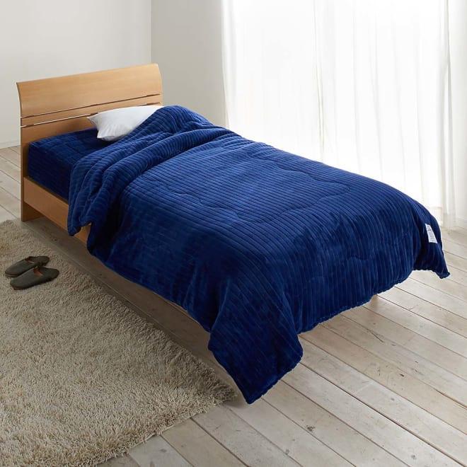 暖かさと肌へのやさしさを考えたFUWARMシリーズ お得な毛布+敷きセット 毛布+シーツ型敷きパッド シングル (イ)ネイビー