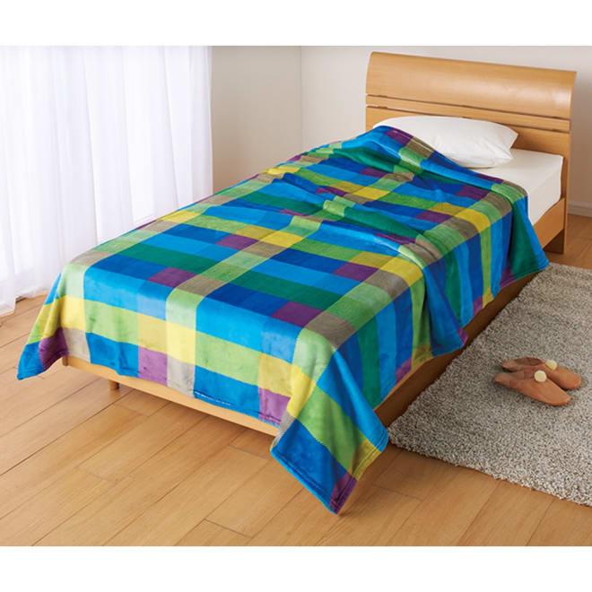 西川 チェック柄のあったかシリーズ ニューマイヤー毛布 お得な2枚組 ブルー