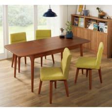 ウォールナット伸長式ダイニング ダイニングセット 伸長式テーブル お得な5点セット 伸長式テーブル・幅130・170cm+ファブリック回転チェア2脚組×2