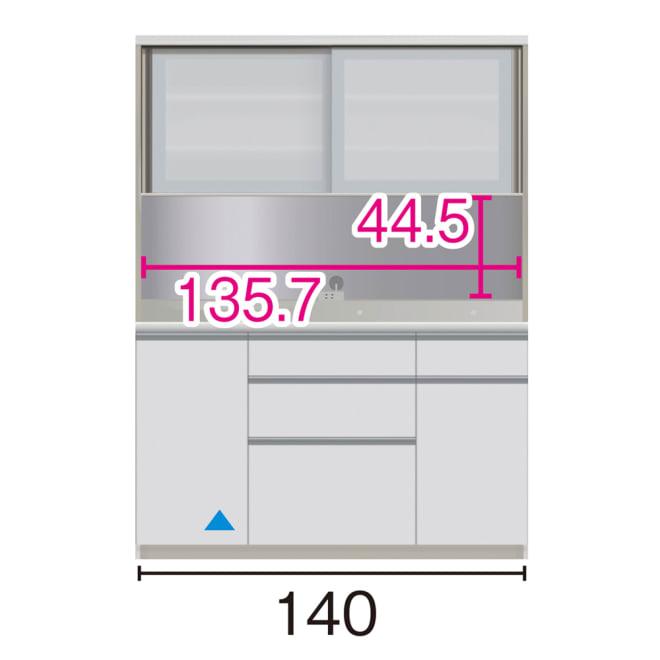 サイズが豊富な高機能シリーズ ダイニング深引き出し 幅140奥行50高さ187cm/パモウナ JZA-1400R ※赤文字は内寸、黒文字は外寸表示です。(単位:cm) オープン部奥行46cm ▲部分の収納部は開扉です。