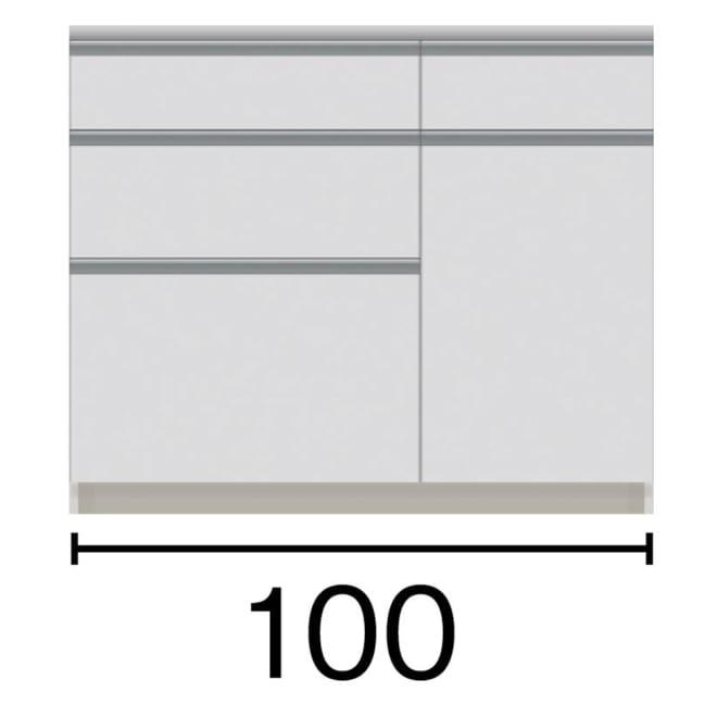 サイズが豊富な高機能シリーズ カウンター引き出し 幅100奥行45高さ84.8cm 黒文字は外寸表示です。(単位:cm)