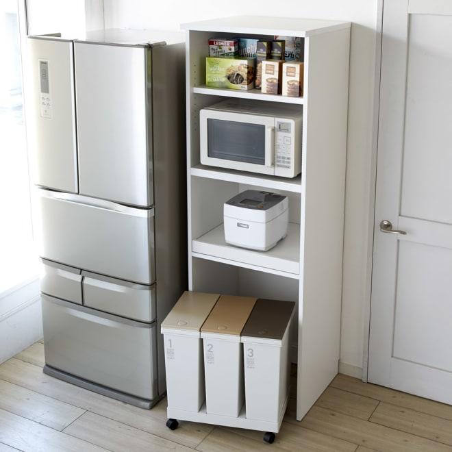 大型パントリーシリーズ レンジラック 下オープン 幅60cm 家電もストックも取り出しやすく収納できるオープンキッチンラック。