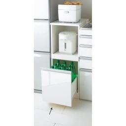組立不要 幅と高さが選べる家電収納庫  ロータイプ 幅35cm・奥行45cm 天板とスライドテーブルにそれぞれ家電を収納できるロータイプ。