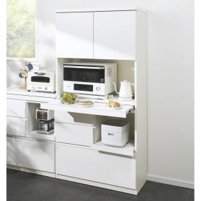 作業カウンター付きコンパクト食器棚 ハイタイプ 幅75cm 写真