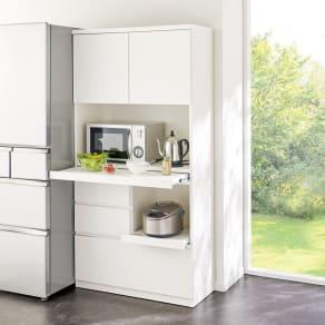 作業カウンター付きコンパクト食器棚 ハイタイプ 幅89cm 写真