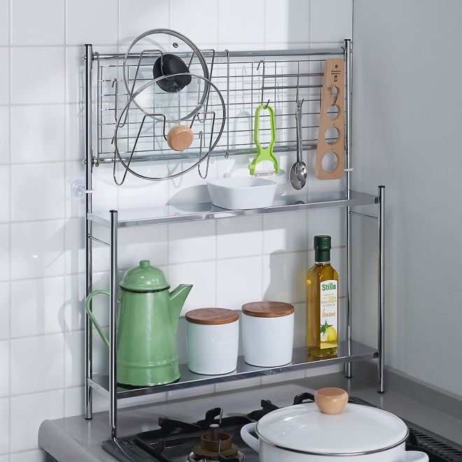 コンロサイド収納ラック 幅56cmタイプ ネットパネル付き 置き場所に困る鍋フタやキッチンツールが収納できるので、シンクとコンロの間に設置すれば、調理がスムーズに進みます。