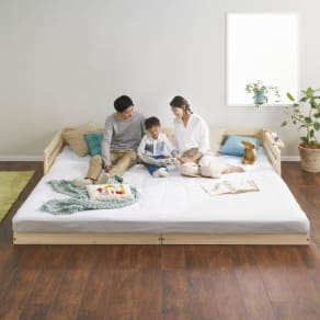 ファミリー161cm(セミシングル×2)(並べてもずれにくいサイドガード付きひのきすのこベッド) 写真
