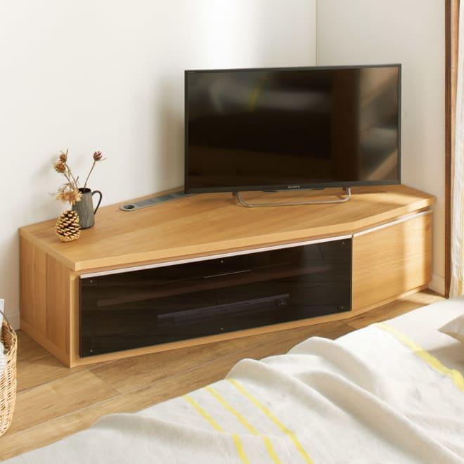 住宅事情を考えた天然木調コーナーテレビ台 右コーナー用 幅123.5cm コーディネート例(ア)ナチュラル 木目が美しい天然木調のコーナータイプのテレビボード!