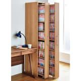 天然木調スライド式すき間収納本棚 コミックタイプ2列セット 写真