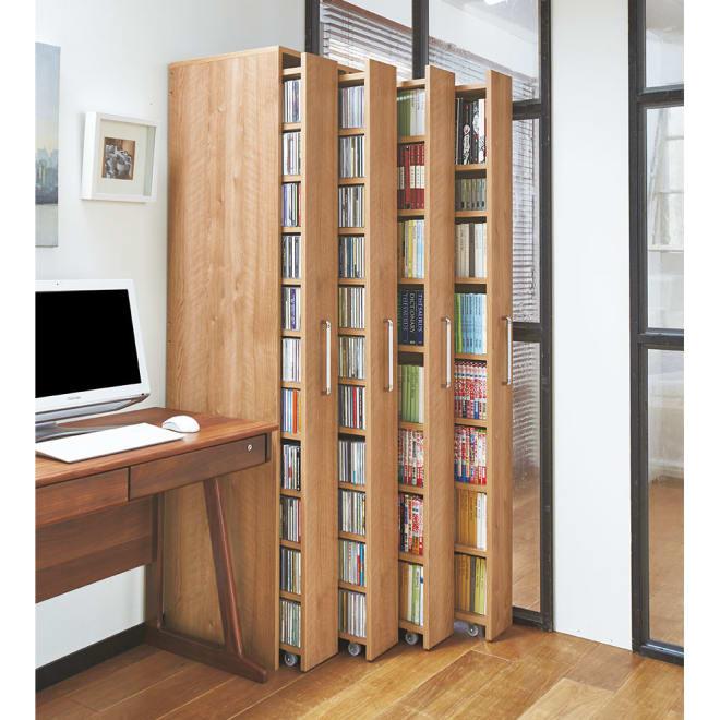 天然木調スライド式すき間収納本棚 CDタイプ4列セット コーディネート例(ア)ブラウン ※写真はボックス4列+CDタイプ×2+コミック・文庫本タイプ×2です。お届けはボックス4列+CDタイプ×4です。