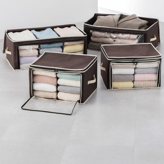 炭入り消臭衣類収納ケース大小4個セット 仕切りをたためば大きな衣類も収納可能。 上からも前からも取り出せる。