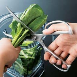 鍛造オールステンレス製カーブキッチンバサミ 刃渡りが長いので、葉もの野菜もスパッと。