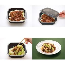 グルラボ プラス IWATANI イワタニ 回鍋肉も!豚肉とキャベツ、調味料をいれて2分30秒で!*別途蒸らし時間がかかります。