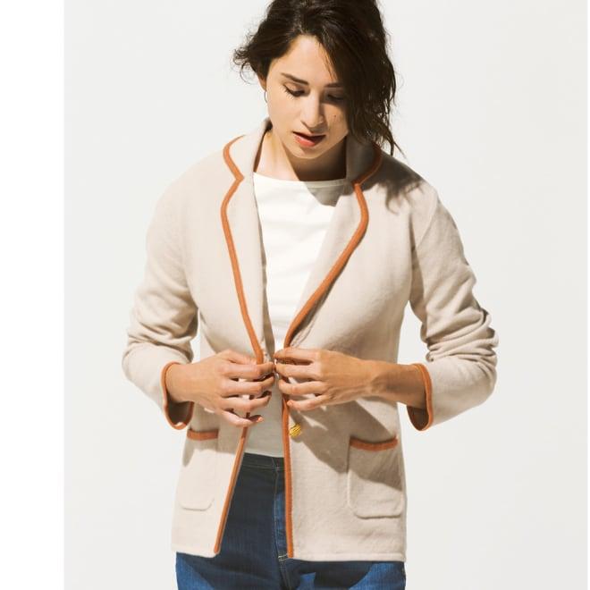 シルク混 ニットテーラードジャケット コーディネート例
